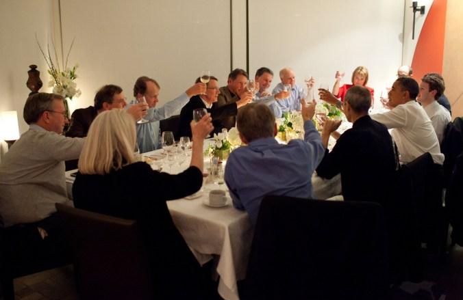 President Obama flanked by Steve Jobs and Mark Zuckerberg.