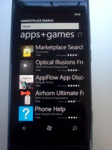 "Windows Phone Marketplace search for ""skype"""