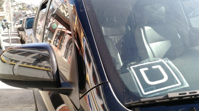 Uber sticker. Photo by Jordan Novet/VentureBeat