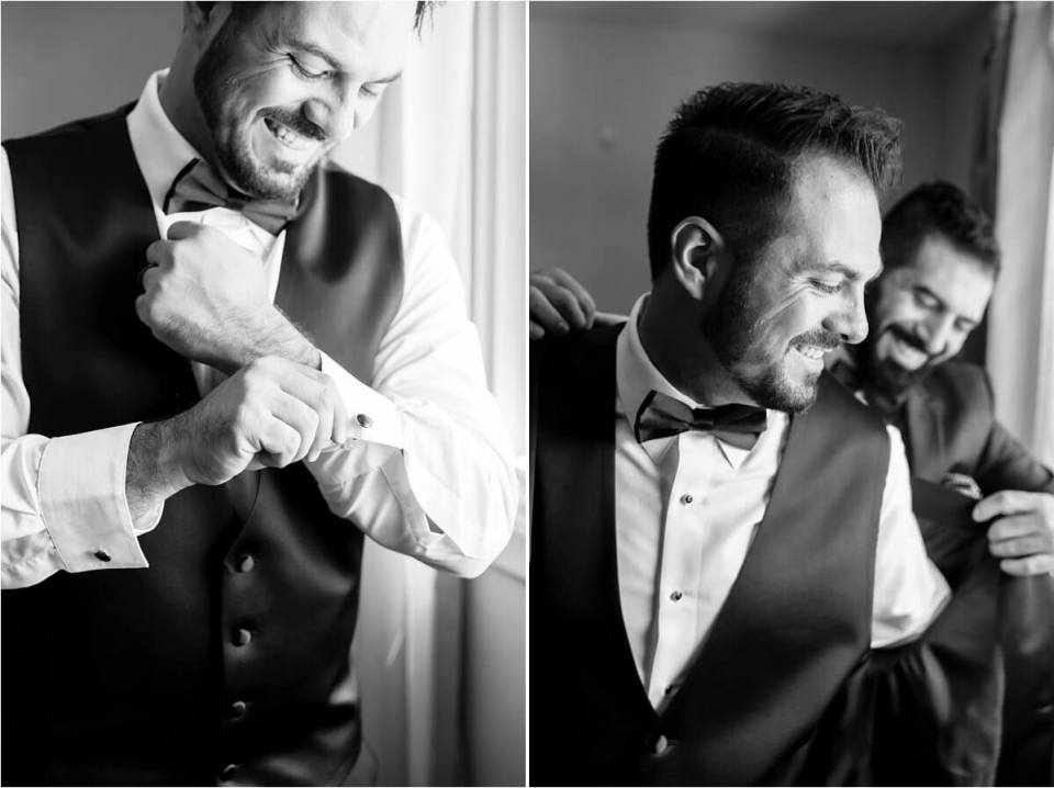 Black and white photo of groom putting on cuff link and best man helping to put on wedding jacket tux - Woodstock London Ontario Lebanese middle eastern arab Wedding and engagement photos - Dylan Martin Photography