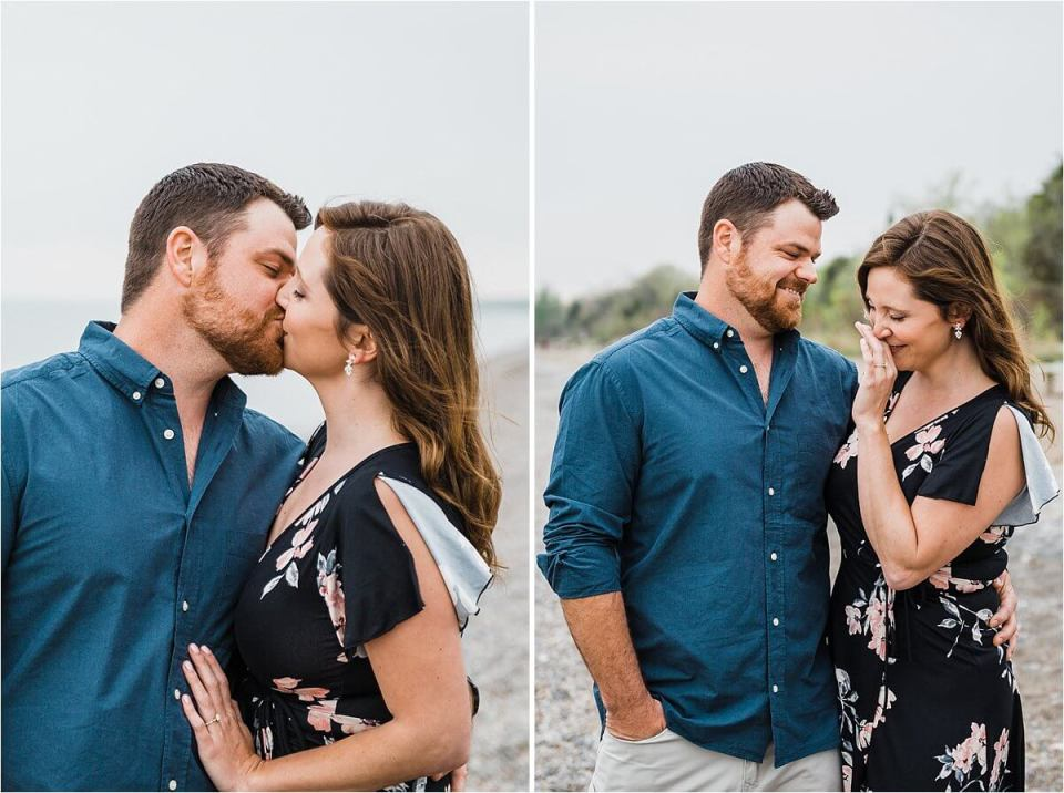 coulee laughing and kissing on the beach surrounded by trees - London Stratford Cambridge Woodstock Wedding Photographer by Dylan and Sandra of Dylan Martin Photography