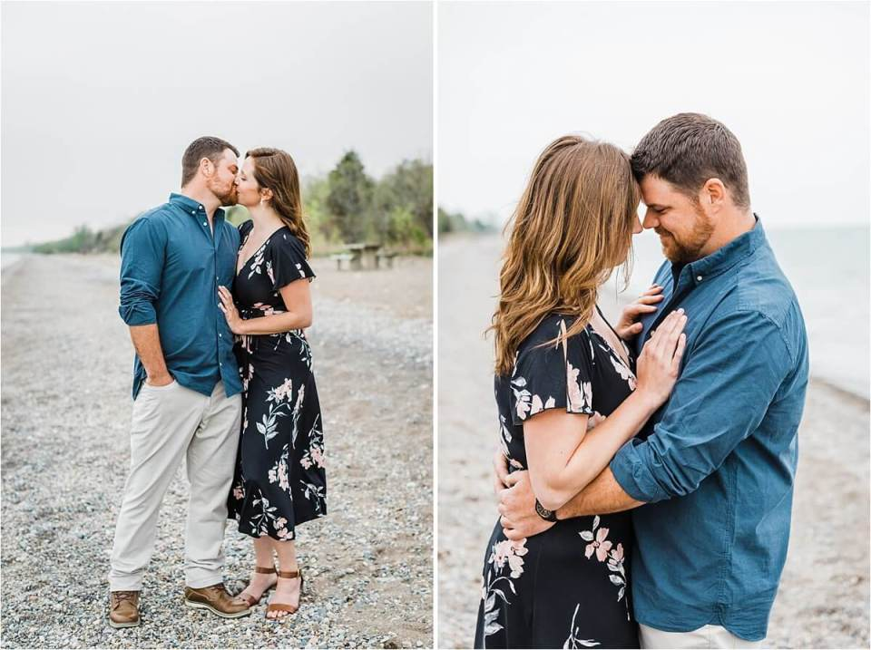 romantic kiss on the beach with a girl in a floral dress - London Stratford Cambridge Woodstock Wedding Photographer by Dylan and Sandra of Dylan Martin Photography