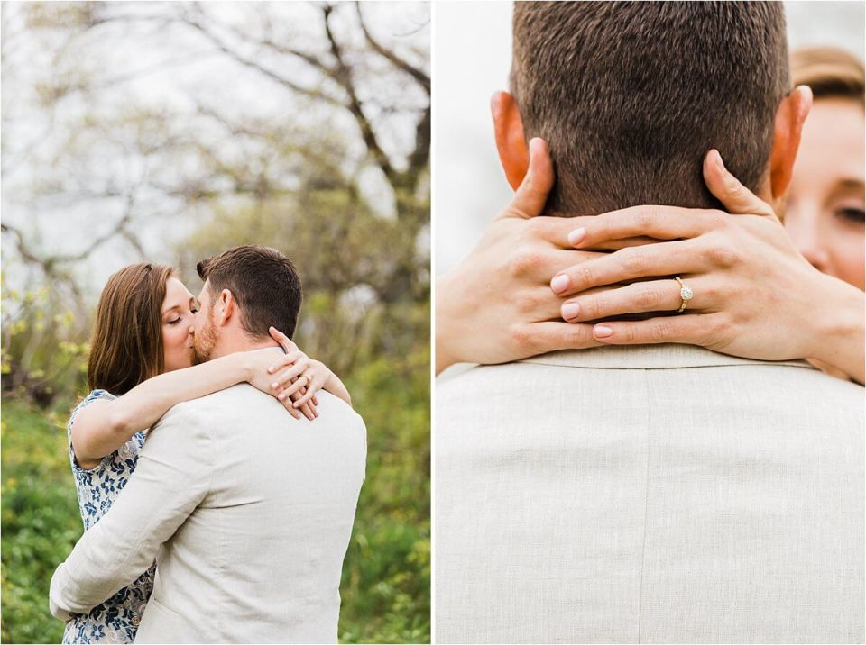 kiss after engagement including a large diamond engagement ring - London Stratford Cambridge Woodstock Wedding Photographer by Dylan and Sandra of Dylan Martin Photography