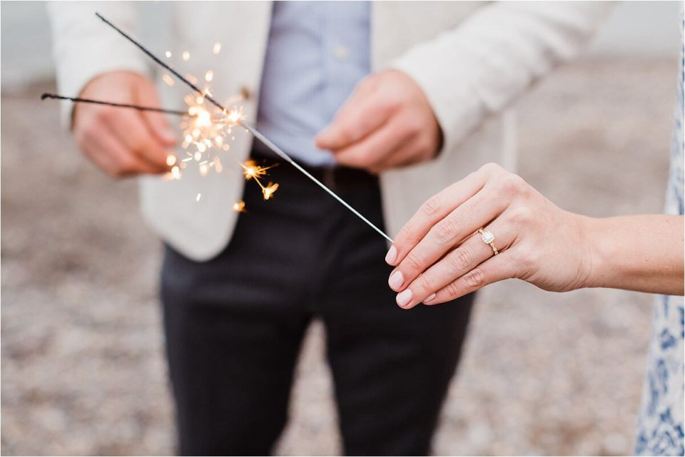 engagement on the beach with sparklers - London Stratford Cambridge Woodstock Wedding Photographer by Dylan and Sandra of Dylan Martin Photography
