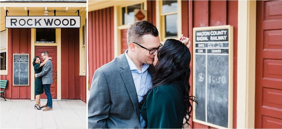 cute couple at rockwood train station - London Cambridge Stratford Woodstock Grand Bend Strathroy Ontario Wedding Engagement Photographer by Dylan Martin Photography with Dylan and Sandra