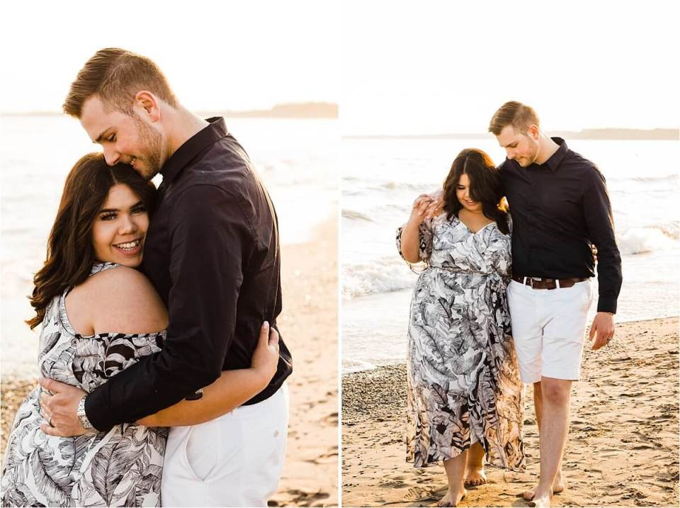 woman hugging man at the beach during sunset - London Stratford Cambridge Woodstock Wedding Photographer by Dylan and Sandra of Dylan Martin Photography