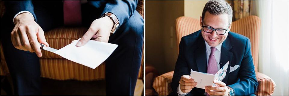 A groom Reading a love letter from his bride on his wedding day - Dylan and Sandra of Dyan Martin Photography for Weddings and Engagement candid photographer in London, Cambridge, Stratford and Woodstock Ontario