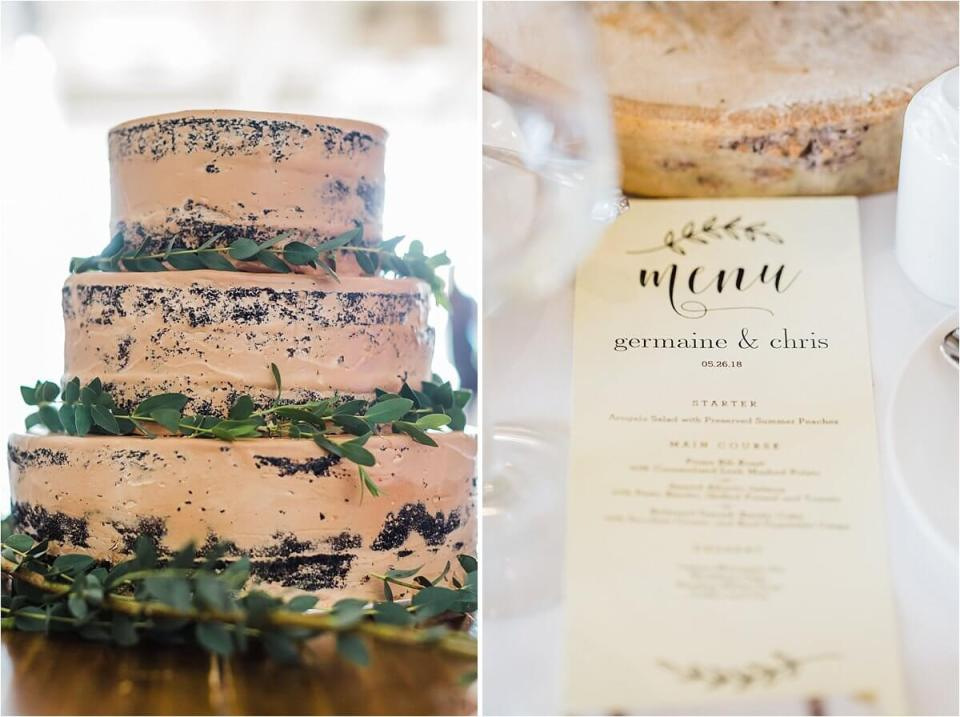 Cake and menu card from Germaine & Chris' wedding day at Inn on the Twenty