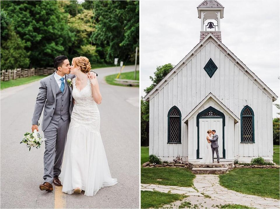 Bride and groom in front of an old white church at Balls Falls