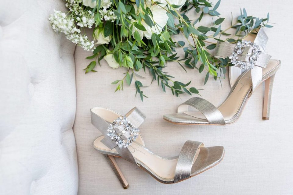 Gorgeous silver jewel wedding day shoes by Jessica Simpson worn by a Hamilton Ontario bride