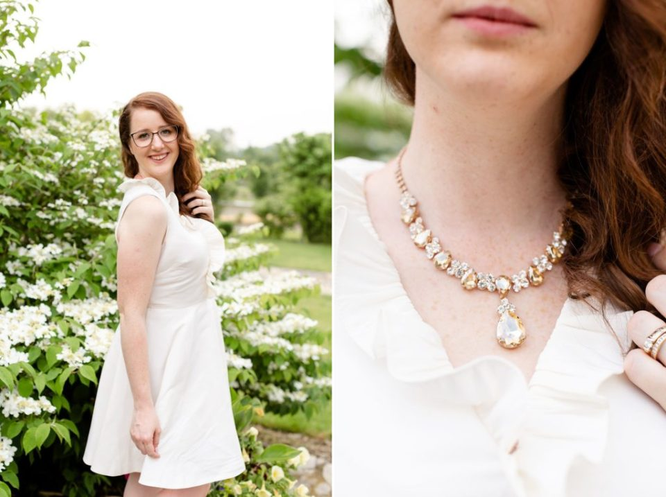 Close up of a Le Chateau Necklace during their 10th anniversary photography session