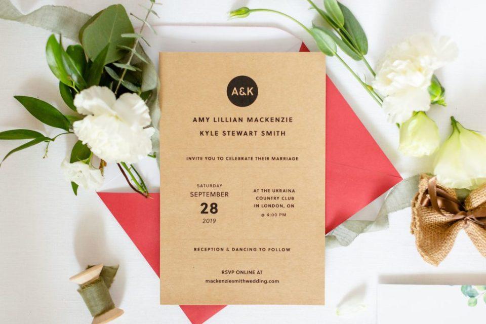 Custom wedding stationary designed by the bride