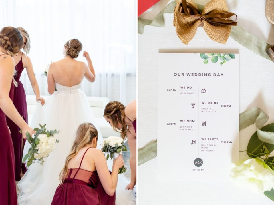Custom designed wedding stationary with lots of eucalyptus elements throughout the wedding day