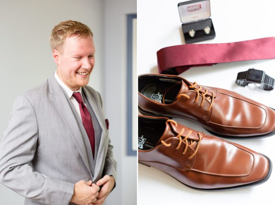 Groom's details his shoes, tie and marvel iron man cuff links