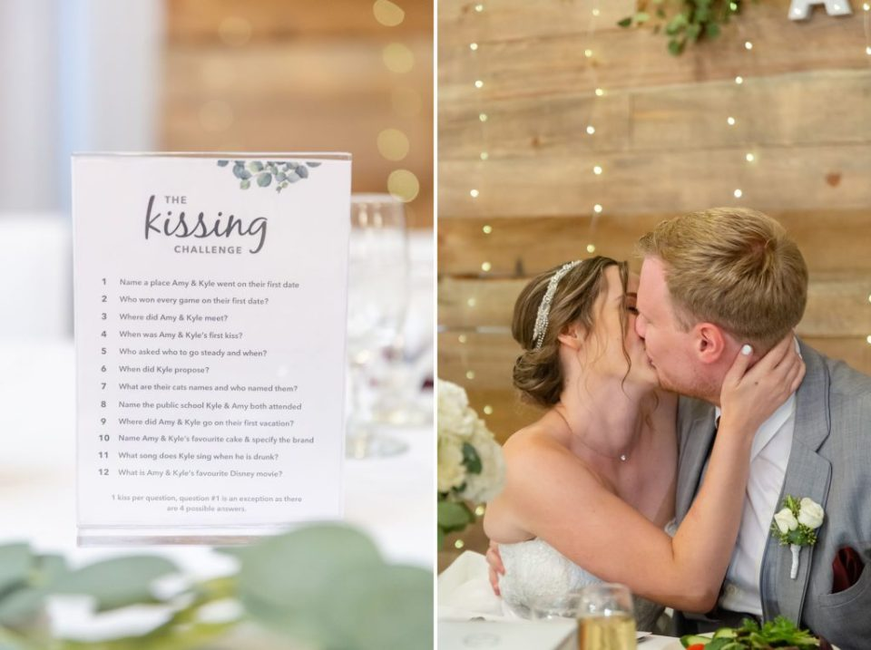 Couple kissing during their reception at Ukraina Country Club - Kissing game rules