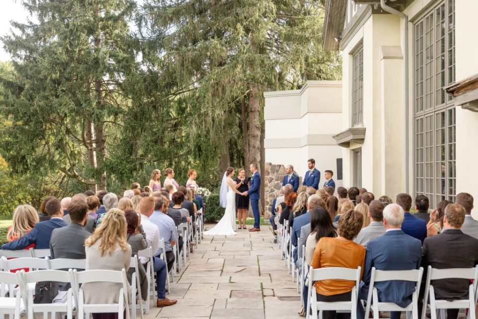 Outdoor ceremony on the patio at Windermere Manor