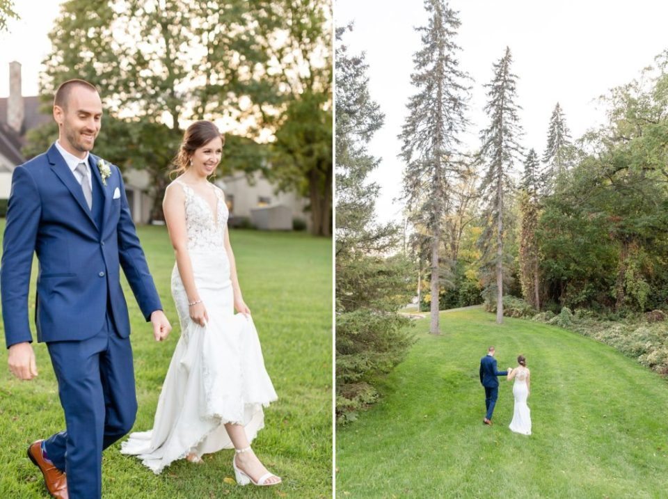 Newlyweds walk towards two old large trees during their sunset photos at Windermere Manor