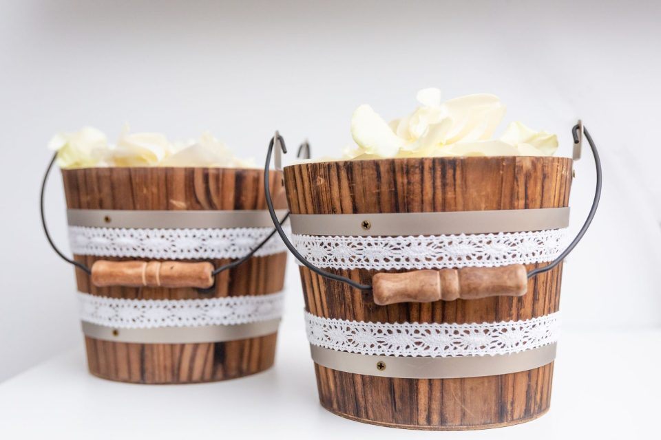 Wooden pedal baskets for a white pumpkin autumn themed wedding in London Ontario