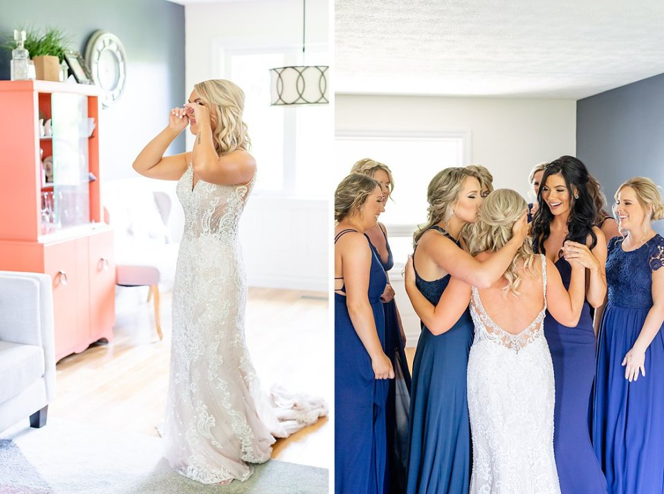 Bride has a first look moment with her bridesmaids in Kincardine Ontario