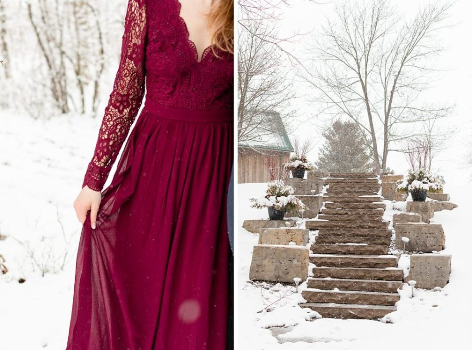 girl in burgundy lulus maxi dress on stone stairs