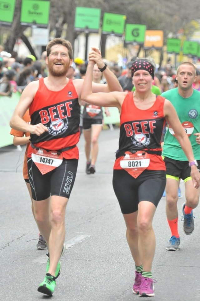 Austin Half Marathon 2016 Lori T Brown and Dylan Cornelius