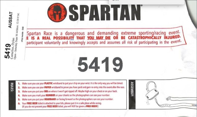 """Spartan Race chip envelope. .""""YOU MAY DIE""""."""