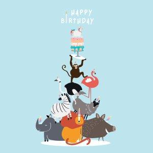 Animal themed birthday postcard vector. Image by rawpixel.com