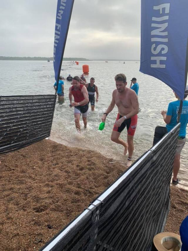Dylan Cornelius exits the swim course at the 2019 Jack's Generic Triathlon