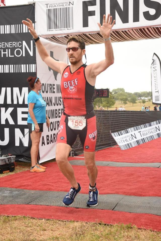 Dylan Cornelius finishes the Jack's Generic Triathlon 2019