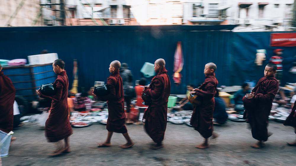 Novice Monks, Yangon Downtown, Myanmar - Photographer