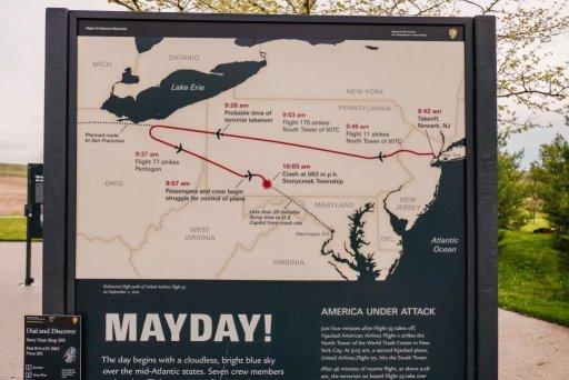 Map of the Flight 93 flight path at the Flight 93 Memorial