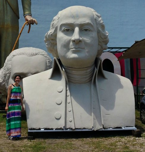 Young woman with a large president head of John Adams in Houston Texas