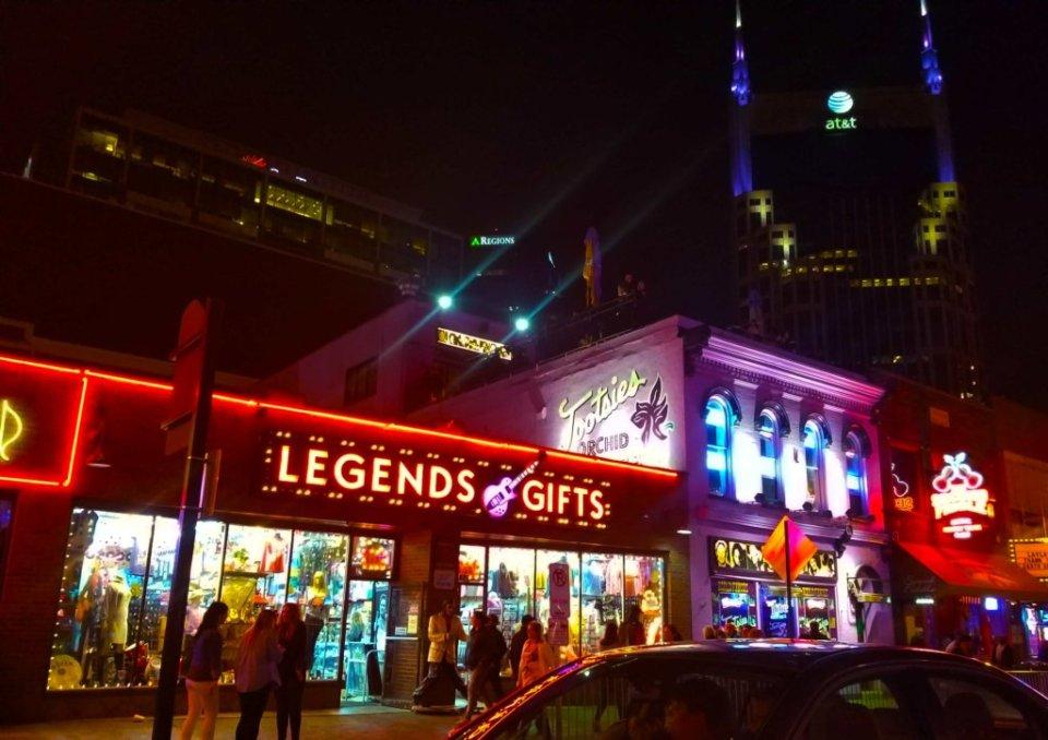 Nashville street lit up at night