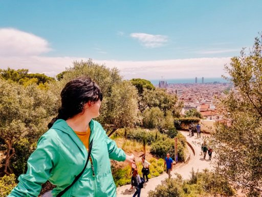 Looking at the skyline of Barcelona from Park Guell