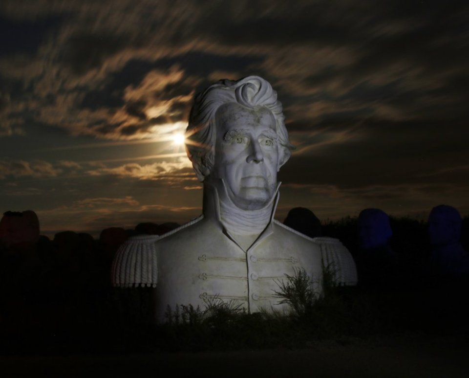 Andrew Jackson president head in Williamsburg, VA illuminated by the moon