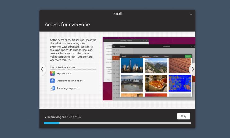 Screenshot of Ubuntu's installer slideshow