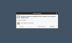 Screenshot of Ubuntu's software updater