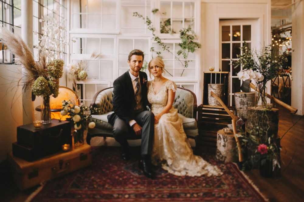 indoor wedding portrait