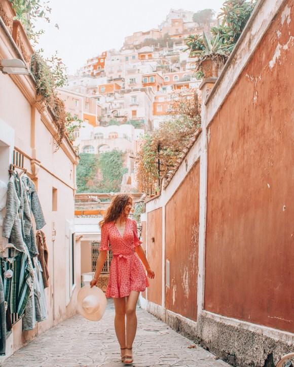 Girl walking in an alley in Positano