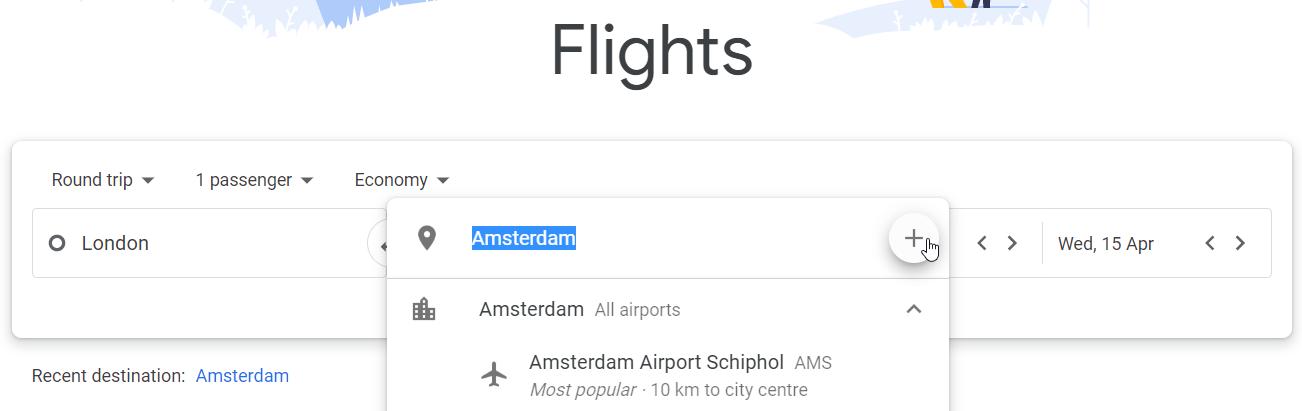 Choosing more than one destination in Google Flights