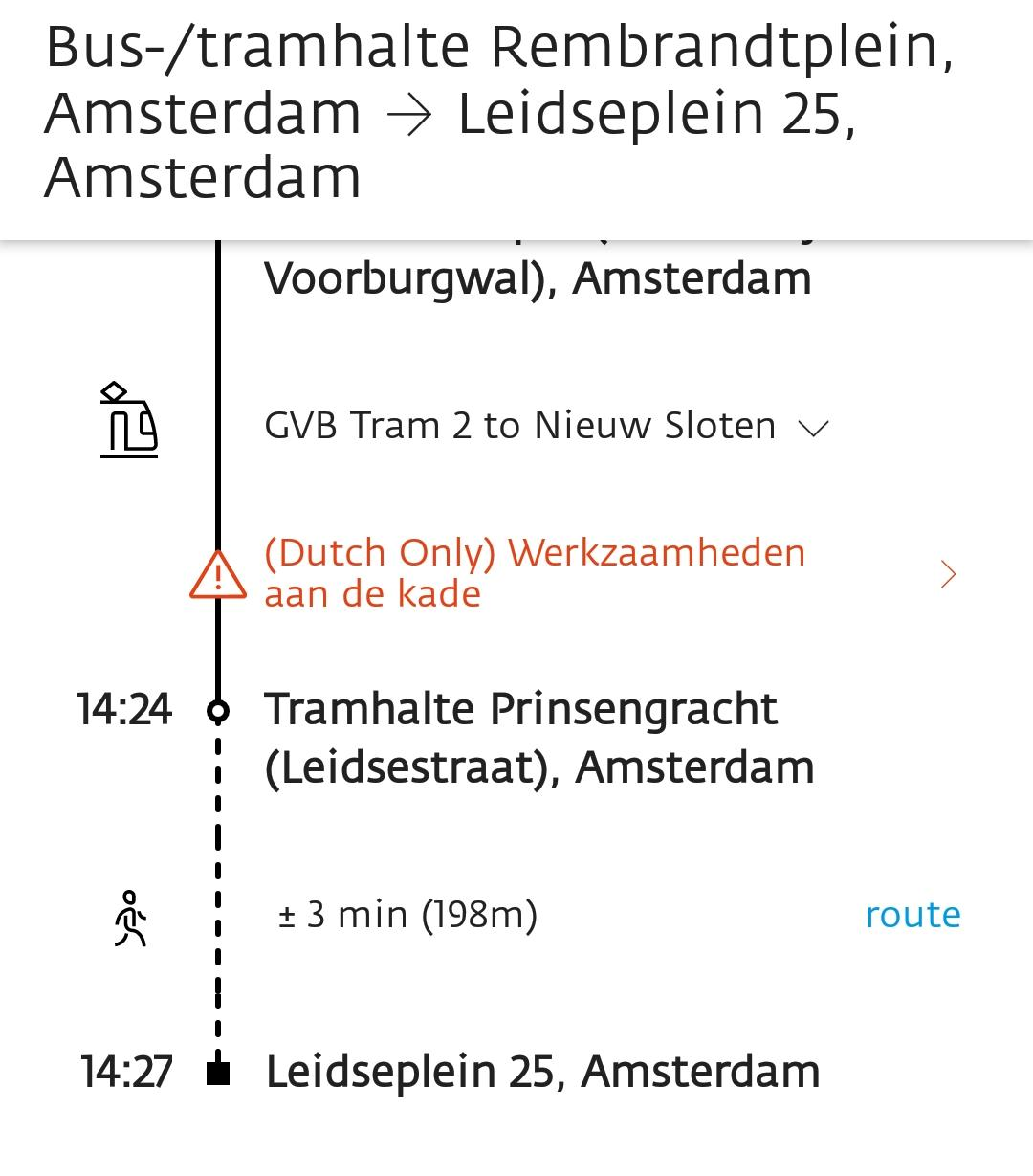 Example of journey in Amsterdam with 9292