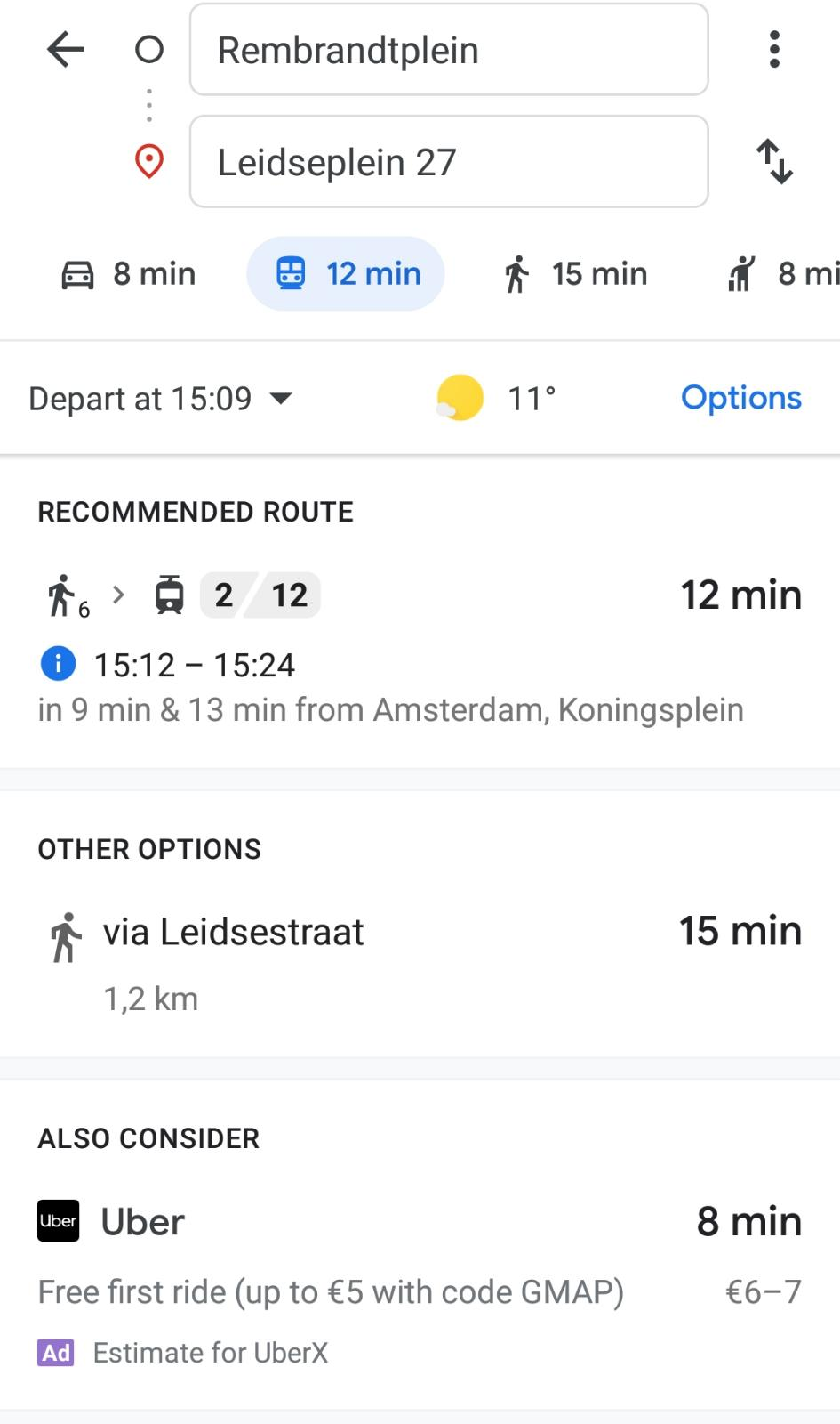 Going from Rembrandtplein to Leidseplein 27 (Google Maps)