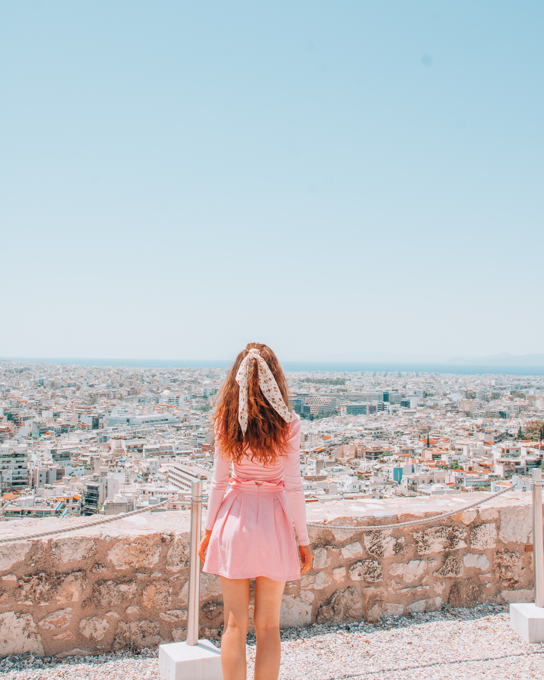 Girl looking at the view from the Acropolis