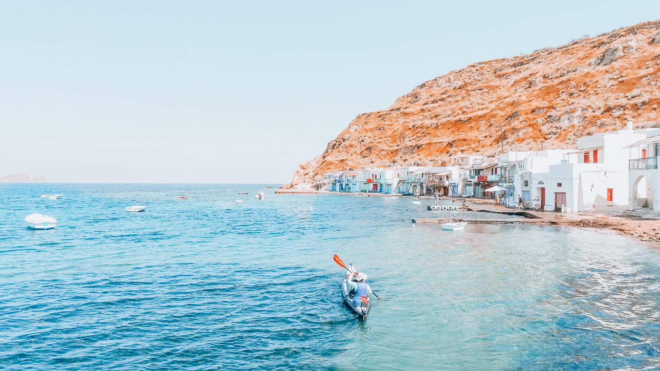 Person Kayaking in Milos
