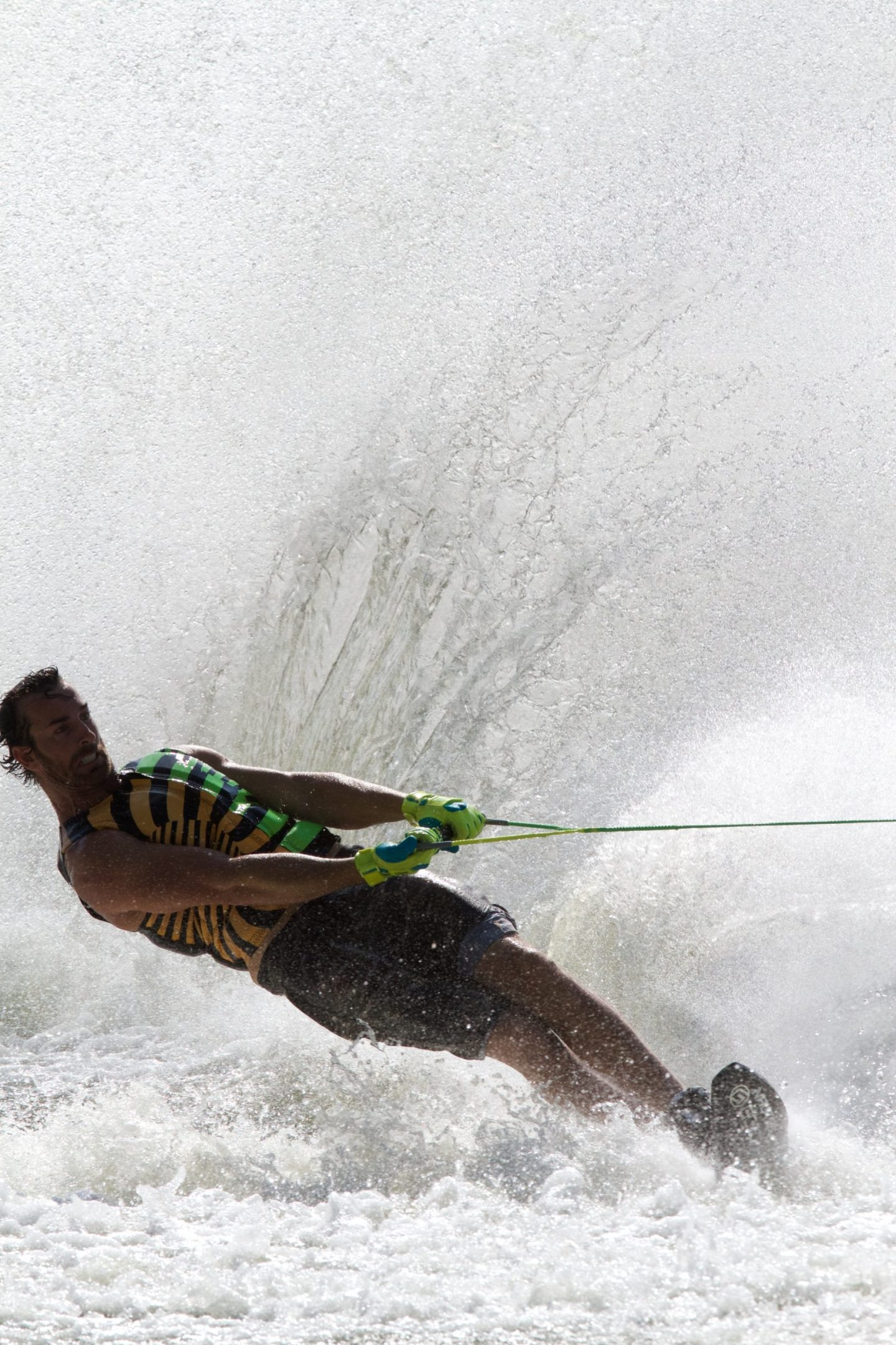 Person waterskiing