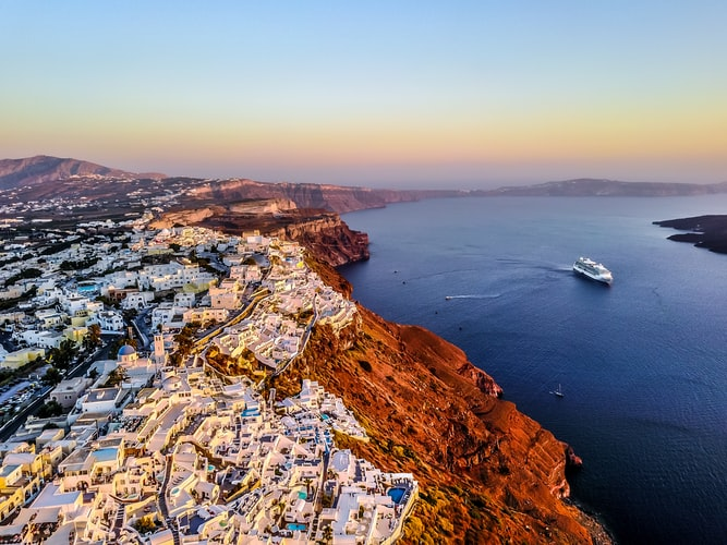 Water and houses in Santorini