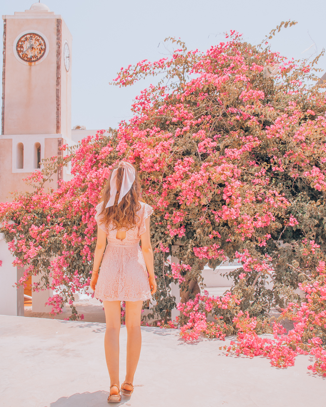 Girl in front of a pink tree in Santorini