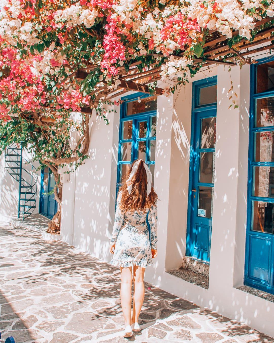 Girl walking in Plaka, Milos