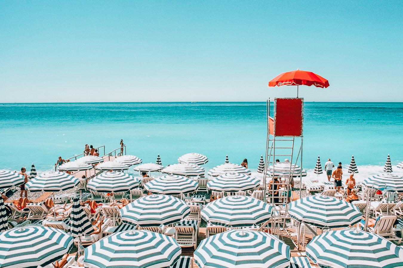 Beach with umbrellas