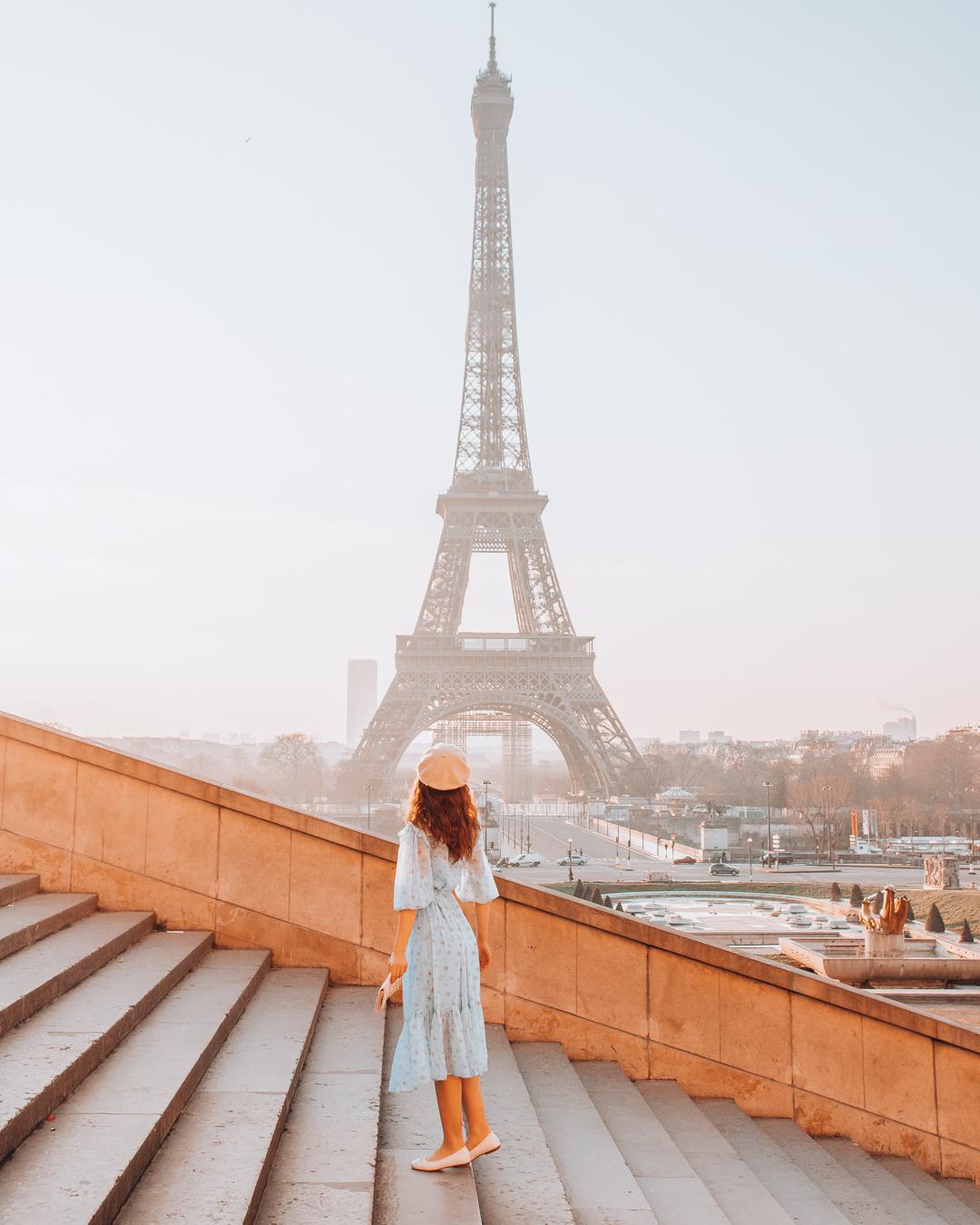 Standing on stairs of Trocadéro